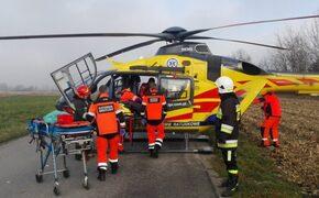 4 osoby ucierpiało w wypadku w powiecie przeworskim. W akcji uczestniczył śmigłowiec ratunkowy - Aktualności Podkarpacie