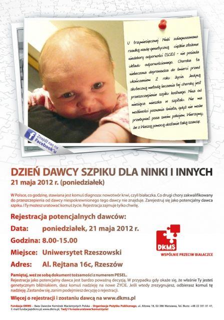 Aktualności Rzeszów | Dzień Dawcy Szpiku dla Ninki i Innych