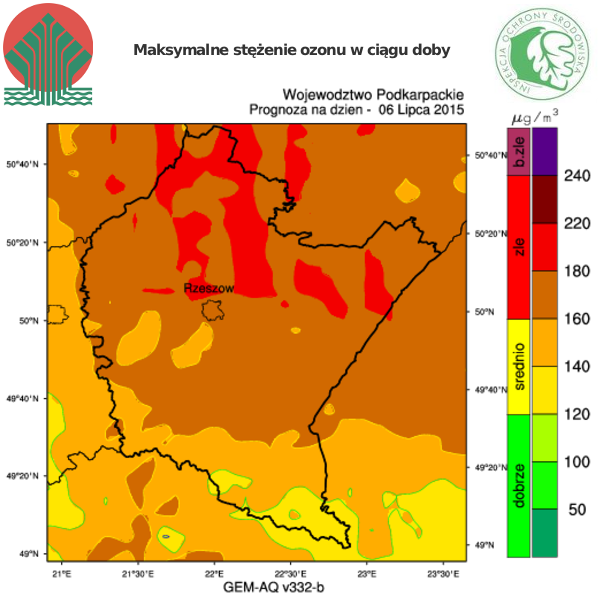 Aktualności Podkarpacie | Uwaga! Wysokie stężenie ozonu na Podkarpaciu