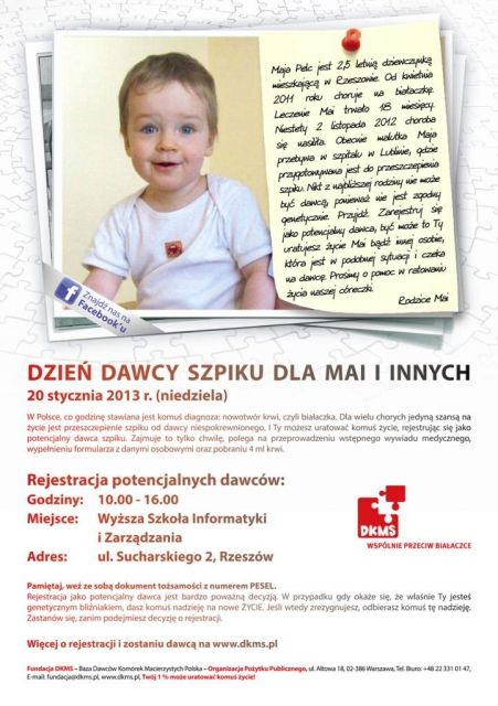 Aktualności Rzeszów | Dzień Dawcy Szpiku dla Mai i Innych
