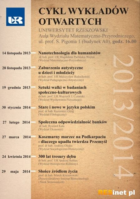 Aktualności Rzeszów | Cykl otwartych wykładów na Uniwersytecie Rzeszowskim