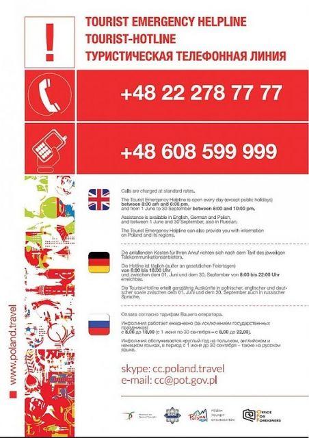 Działa specjalna infolinia dla turystów zagranicznych - Tourist Emergency Helpline - Aktualności Podkarpacie