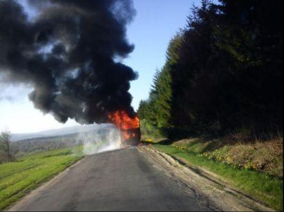 Pożar autokaru w Szklarach - Aktualności Podkarpacie