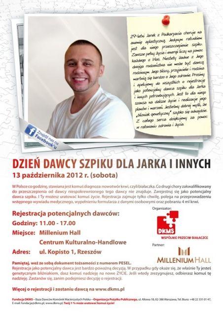 Dzień Dawcy Szpiku dla Jarka i innych - Aktualności Rzeszów